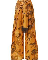 Mother Of Pearl Pantalon Large Noué Sur Le Devant En Satin À Imprimé Fleuri Georgina - Orange
