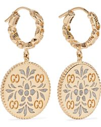 Gucci - Icon 18-karat Gold And Enamel Earrings Gold One Size - Lyst