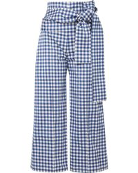 Silvia Tcherassi | Salve Cropped Gingham Cotton-blend Wide-leg Trousers | Lyst