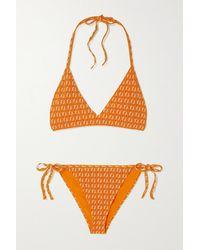 Fendi Stretch-jacquard Halterneck Bikini - Orange