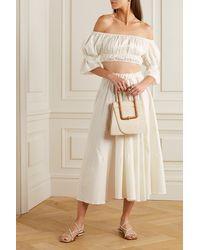 Cult Gaia Haut Raccourci Épaules Nues En Satin De Coton Stretch Medea - Blanc