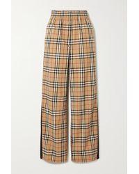 Burberry Pantalon Large En Coton Mélangé À Rayures Et À Carreaux - Multicolore