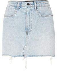 Alexander Wang - Distressed Denim Mini Skirt - Lyst