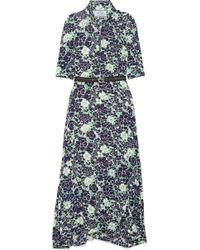 Prada - Asymmetric Floral-print Stretch-silk Midi Dress - Lyst
