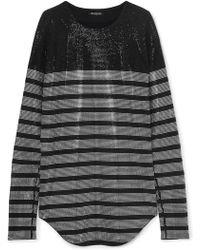 Balmain - Crystal-embellished Striped Stretch-jersey Top - Lyst