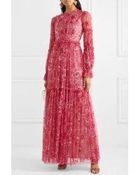 Needle & Thread Anya Embellished Floral-print Tulle Gown - Red