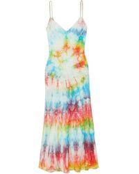 DANNIJO Tie-dyed Silk-satin Midi Dress - Pink