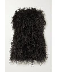 Michael Lo Sordo Strapless Feather-trimmed Satin Mini Dress - Black