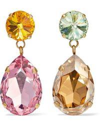 Roxanne Assoulin Hip Hop But Not Gold-tone Swarovski Crystal Clip Earrings - Pink