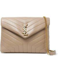 Saint Laurent Loulou Medium Quilted Leather Shoulder Bag - Natural