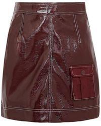 Ganni Faux Patent-leather Mini Skirt - Multicolour
