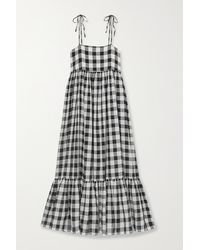 The Great The Dainty Gingham Linen And Cotton-blend Midi Dress - Black