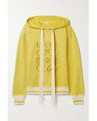 Loewe Embroidered Cotton-jersey Hoodie - Yellow