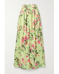 PATBO Tula Floral-print Satin-jacquard Wide-leg Trousers - Yellow