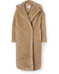 Max Mara Teddy Icon Metallic Faux Fur Coat - Natural