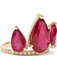 Jacquie Aiche Ring Aus 14 Karat Gold Mit Rubinen Und Diamanten - Mettallic