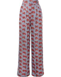 J.Crew - Frankie Printed Silk-twill Wide-leg Trousers - Lyst