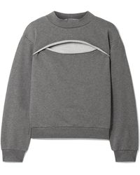 T By Alexander Wang - Cutout French Cotton-terry Sweatshirt - Lyst