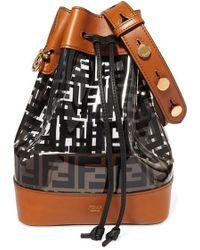 Fendi Mon Trésor Medium Printed Pvc And Leather Bucket Bag - Black