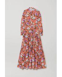 Evi Grintela Beldi Tiered Floral-print Fil Coupé Cotton Maxi Dress - Orange