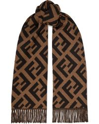 8e763c0a Fringed Cashmere-jacquard Scarf - Brown