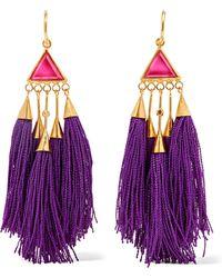Katerina Makriyianni - Tasselled Gold-tone Crystal Earrings - Lyst
