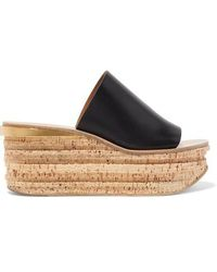 Chloé Camille Wedge Mules - Black