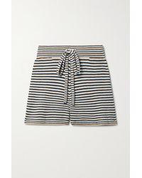 A.L.C. Billie Striped Cotton-blend Shorts - Blue