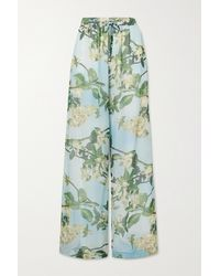 PATBO Floral-print Crepon Wide-leg Pants - Green