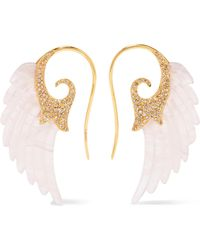 Noor Fares - Wing 18-karat Gold, Agate And Diamond Earrings - Lyst