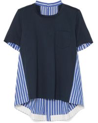 Sacai - Striped Cotton-poplin And Cotton-jersey Top - Lyst