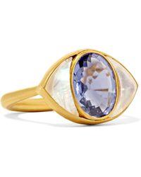 Marie-hélène De Taillac - Lucky Eye 22-karat Gold, Iolite And Moonstone Ring - Lyst