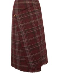 Acne Studios - Checked Tweed Wrap-effect Skirt - Lyst