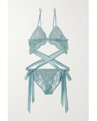Coco De Mer Viola Body Aus Besticktem Tüll Mit Cut-outs - Blau