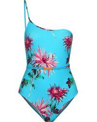 Diane von Furstenberg - One-shoulder Belted Floral-print Swimsuit - Lyst