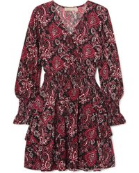 MICHAEL Michael Kors - Tiered Printed Crepe Dress Red Large - Lyst