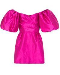 Rasario Schulterfreies Minikleid Aus Seiden-shantung - Pink