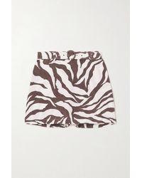 Faithfull The Brand + Net Sustain Celia Belted Layered Zebra-print Linen Shorts - Brown