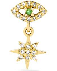 Ileana Makri - Eye Star 18-karat Gold, Diamond And Tsavorite Earring Gold One Size - Lyst