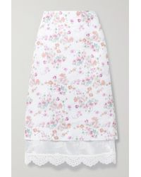 Commission Layered Floral-print Woven Skirt - White