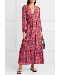 Paloma Blue Kimono En Crêpe De Chine À Imprimé Fleuri Bowie - Rouge