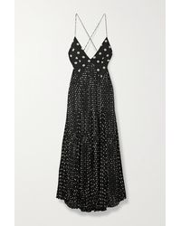 Khaite Robin Pleated Polka-dot Silk Crepe De Chine Maxi Dress - Black