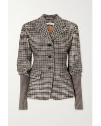 Chloé Checked Wool-blend Tweed And Ribbed-knit Jacket - Grey