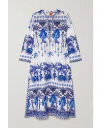 Le Sirenuse Giada Printed Cotton-voile Kaftan - Blue