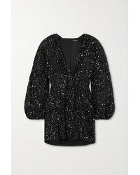 retroféte Aubrielle Sequined Chiffon Mini Dress - Black