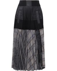 Sacai - Checked Pleated Wool-twill, Poplin, Shell And Cotton-jersey Skirt - Lyst