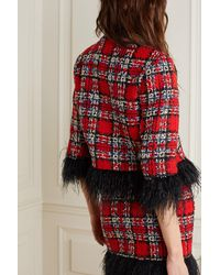 Halpern Cropped Feather-trimmed Checked Tweed Jacket - Red
