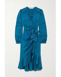 Veronica Beard Miriam Ruffled Satin-jacquard Wrap Midi Dress - Blue