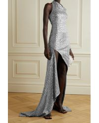 Monse One-shoulder Cutout Sequined Tulle Gown - Metallic