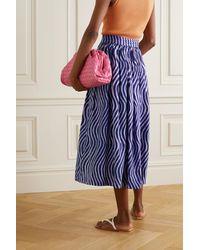 Dries Van Noten Pleated Printed Cotton-poplin Midi Skirt - Blue